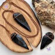 Black Obsidian Arrowhead Copper Pendant